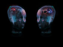 Zwei Glaskopf-Konzept Stockfotografie