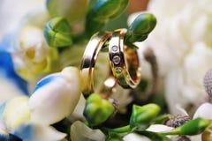 Zwei goldene Eheringe Stockbild