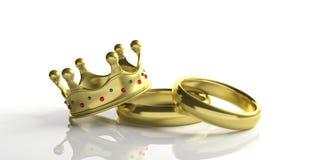 Zwei goldene Eheringe und eine königliche Krone lokalisiert auf weißem Hintergrund, Illustration 3d vektor abbildung