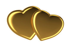Zwei goldene Herzen, die auf Weiß lokalisiert wurden, 3d übertrugen Bild Lizenzfreie Stockfotos