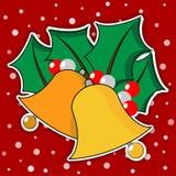 Zwei goldene Weihnachtsglocken mit Blättern Stockbild