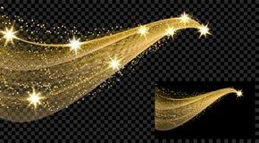 Zwei Goldwellen mit einem Funkelneffekt auf einen karierten und schwarzen Hintergrund Komet mit einem leuchtenden Endstück und St stock abbildung