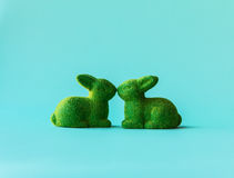 Zwei grüne Kaninchen in einem Kuss Stockbilder