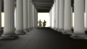 Zwei griechischer Roman Senators Talking Inside von griechischen Roman Temple lizenzfreie abbildung