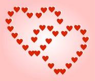 Zwei große rote Herzen, die aus kleinen Herzen auf einem rosa Hintergrund bestehen stock abbildung