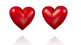 Zwei große rote schlagende Herzen mit den goldenen Pfeilen, die durch überschreiten lizenzfreie abbildung