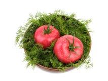 Zwei große Tomaten mit frischem Dill in einem hölzernen Korb, lokalisiert auf einem weißen Hintergrund Vegetarisches Nahrungsmitt stockfotos
