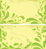 Zwei grunge Hintergründe mit dekorativen Blättern. vektor abbildung