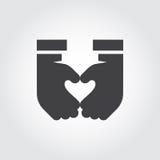 Zwei Hände bilden Innerform Schwarze flache Ikonensymbolliebe, Romance, Verhältnisse, Freundschaft, Leben Fingergestenaufkleber Lizenzfreie Stockfotografie