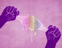 Zwei Hände, die digitale Illustration des Gehirns zusammendrücken Stockbild