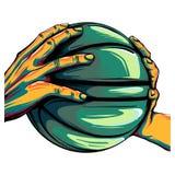 Zwei Hände, die eine Basketballballillustration halten vektor abbildung