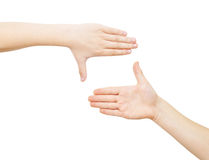 Zwei Hände, die Feld bilden Stockfoto
