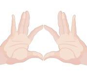 Zwei Hände, die Finger berühren Stockfotografie