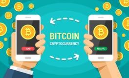 Zwei Hände, die Handys mit farbiger Illustration der bitcoin Vektorebene halten Bitcoins senden und empfangen zwischen Smartphone lizenzfreie abbildung