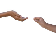 Zwei Hände, die heraus erreichen Stockfotografie