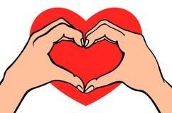 Zwei Hände, die Herzzeichen machen Liebe, romantisches Verhältnis-Konzept Lokalisierte Vektorillustrationslinie Art Lizenzfreie Stockfotografie