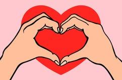 Zwei Hände, die Herzzeichen machen Liebe, romantisches Verhältnis-Konzept Lokalisierte Vektorillustrationslinie Art Stockbild
