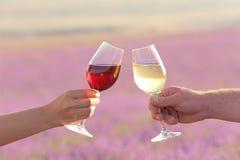 Zwei Hände, die Weingläser rösten Lizenzfreie Stockbilder