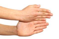 Zwei Hände getrennt über weißem Hintergrund Stockbild