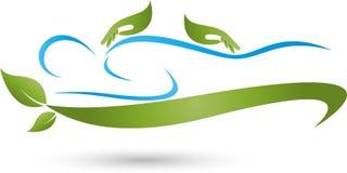 Zwei Hände und menschlich, Massage und naturopathic Logo Lizenzfreies Stockfoto