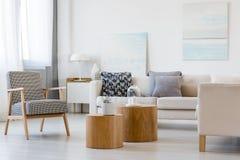 Zwei hölzerne Couchtische mit Anlage im Topf vor grauem Ecksofa im modernen Wohnzimmerinnenraum stockbilder