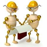 Zwei hölzerne Ingenieure des Mannes 3d Lizenzfreie Stockfotos