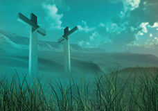 Zwei hölzerne Kreuze Stockfoto