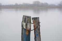 Zwei hölzerne Pfosten für die Verankerung des Gebrauches im Trasimeno See, Italien lizenzfreie stockbilder