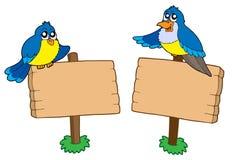 Zwei hölzerne Zeichen mit Vögeln Stockbild
