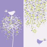 Zwei hübsche Liebesvögel und blumige Zweige. stock abbildung