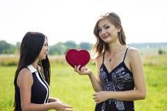 Zwei hübsche verliebte Frauen mit rotem Herzen auf dem Sonnenscheinsommergebiet Lizenzfreie Stockbilder