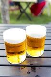 Zwei halbe Liter kaltes Bier Lizenzfreies Stockbild