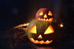 Zwei Halloween-Kürbise heben Gesichter im dunklen Wald auf Hartholz Lizenzfreie Stockfotos