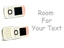 Zwei Handys auf Weiß mit Platz für Text Lizenzfreie Stockfotografie