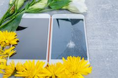 Zwei Handys, eins von ihnen mit einem defekten Schirm, nahe bei Blumen Lizenzfreies Stockbild