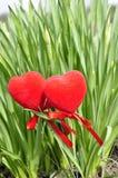 Zwei Herzen im Laub. Stockfotos
