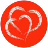 Zwei Herzformen mit Bürstenmalerei auf rotem Kreishintergrund Stockfoto