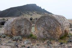 Zwei Heuschober auf dem Hintergrund der Mondlandschaft, Island Lizenzfreies Stockbild