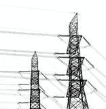 Zwei Hochspannungsleistung-Maste Lizenzfreie Stockfotografie