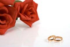 Zwei Hochzeitsringe stockfoto