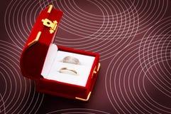 Zwei Hochzeitsringe in einem Kasten Stockfotos