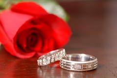 Zwei Hochzeitsringe mit einem Roten stiegen auf eine Tabelle Stockfoto