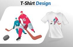 Zwei Hockeyspieler auf Eis, Sportereignist-shirt Druck Spott herauf T-Shirt Designschablone Vektorschablone, an lokalisiert Stockfotografie