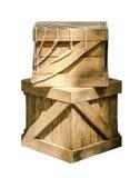Zwei Holzkisten mit Seil Stockbild