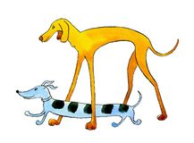 Zwei Hunde Dachshund und Windhund gehen spazieren stock abbildung