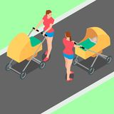 Zwei identische Frauen mit Spaziergängern gehen in den Park Stock Abbildung