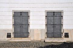 Zwei identische Türen - welches öffnen Sie? Lizenzfreies Stockfoto