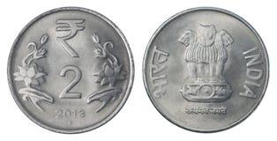 Zwei indische Rupie Stockbild