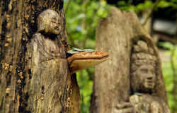 Zwei japanische hölzerne Carvings von einem Buddha in einem Wald mit einem Pilz und Münzen Lizenzfreie Stockfotos