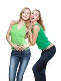 Zwei junge überraschte Mädchen Lizenzfreie Stockbilder